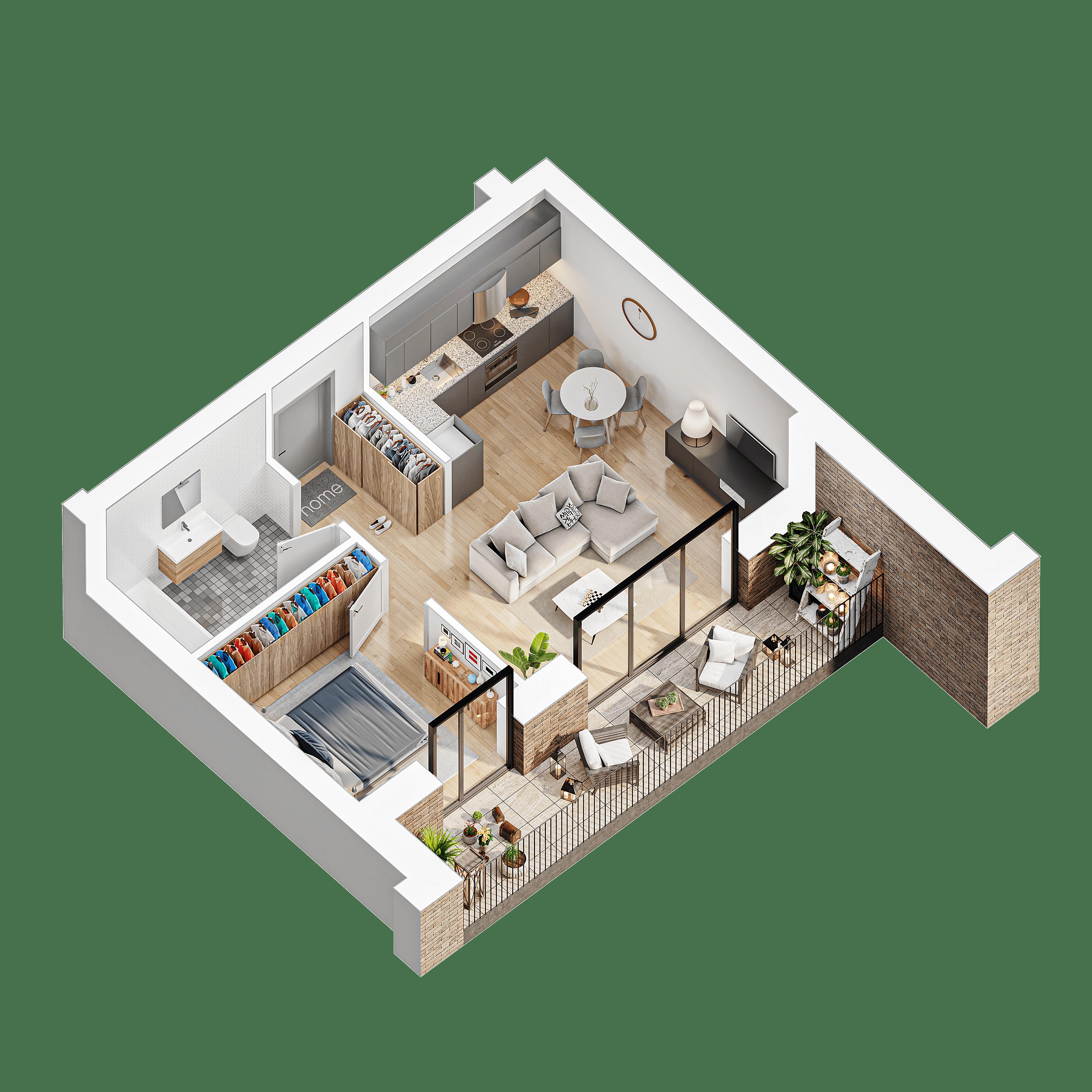 2 kambariu butas su terasa