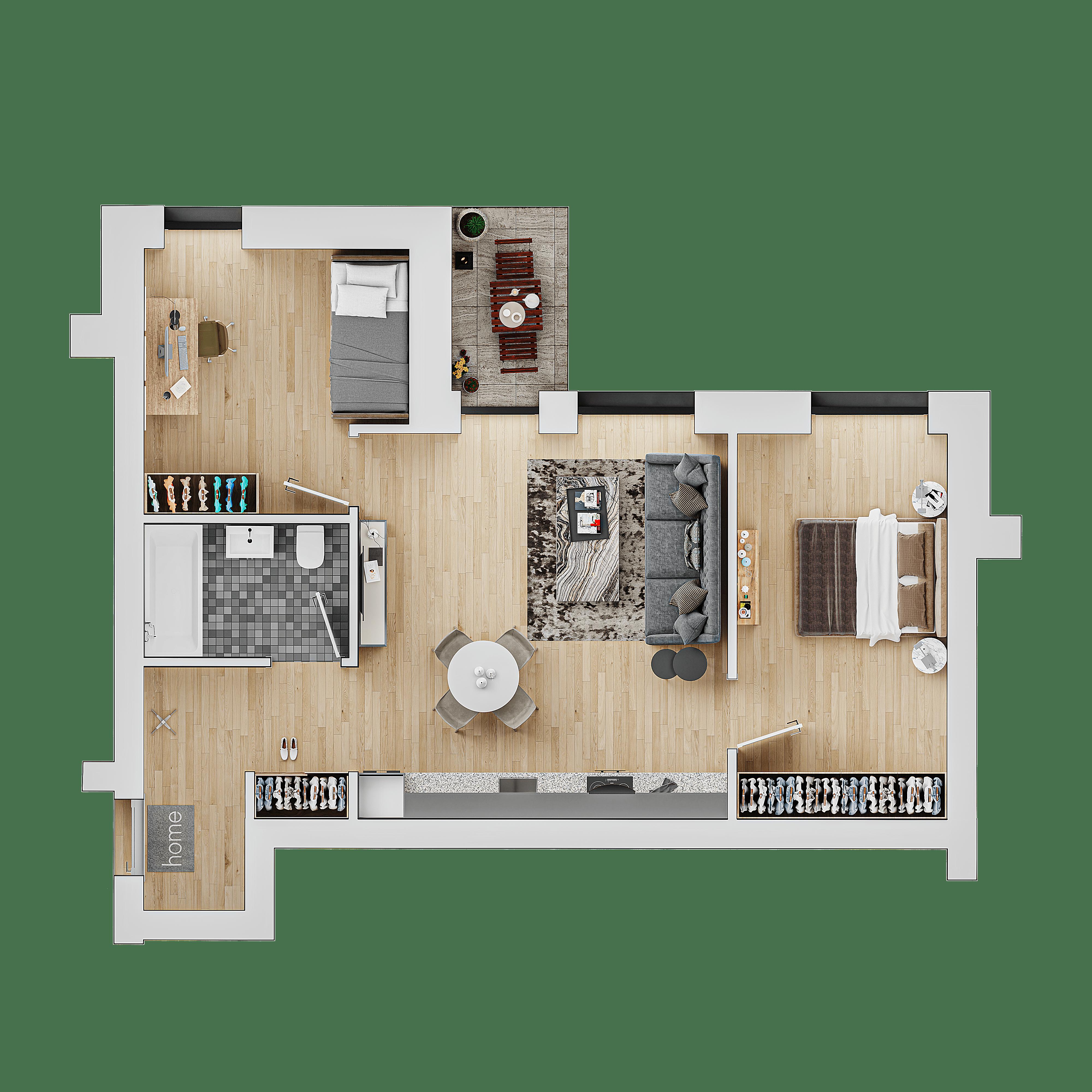 3 kambariu butas pajūryje vizualizacijos