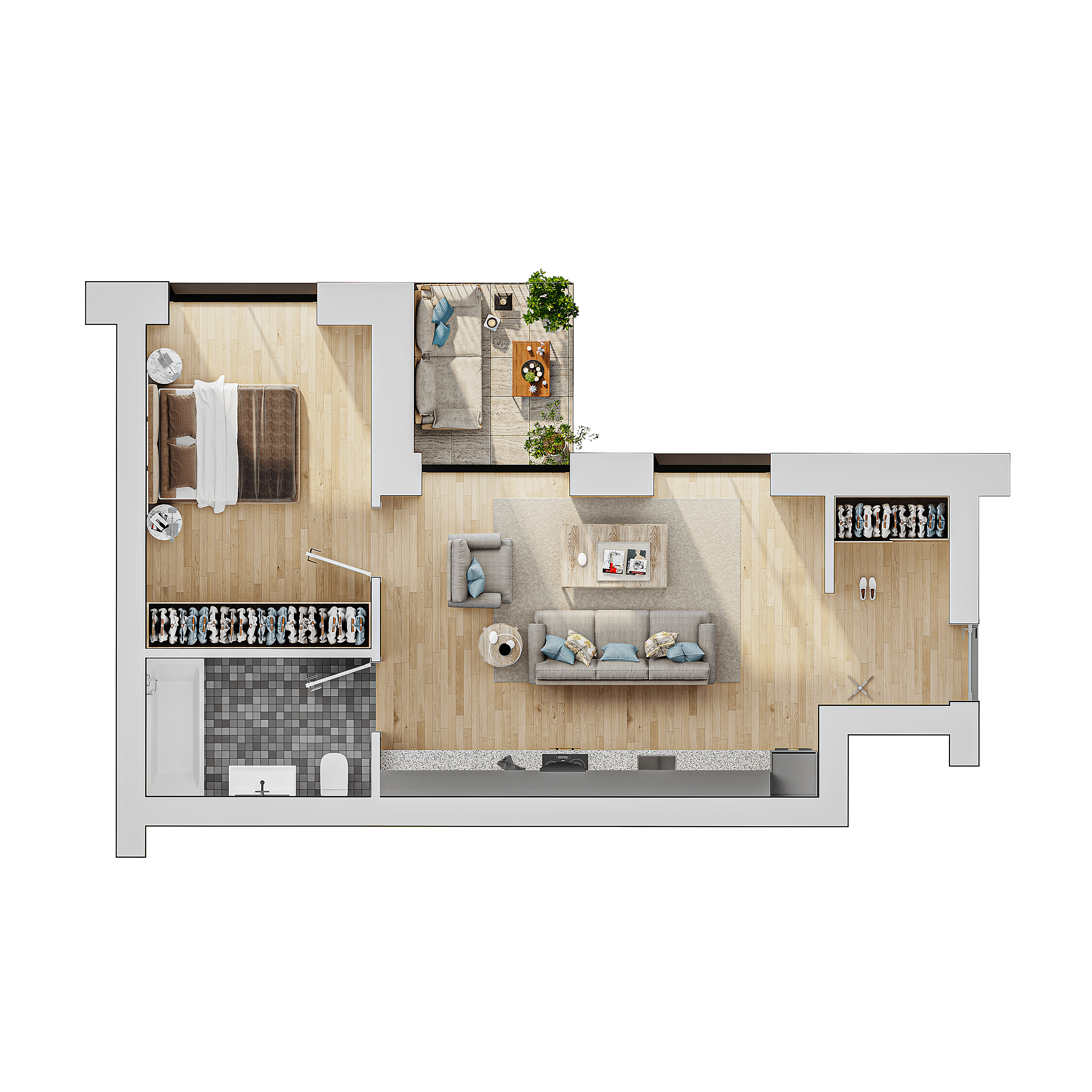 2 kambarių butas su terasa pajuryje